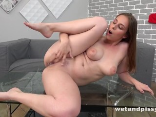 Hot Brunette Pisses Her Pants And Plays