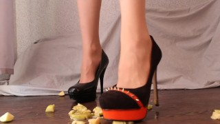 FOOD CRUSH IN HIGH HEELED SHOES / NYLON FOOT FETISH