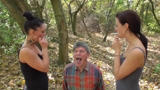 2 german girls use grandpa as spittoon and human ashtray