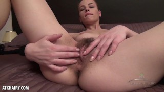 Alice Strips Off her Dress to Masturbate With her Hairy Bush