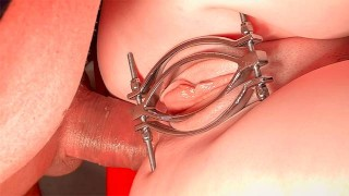Teenpussy in Metal Clamp fucked in the Ass and Pussy screams of Pain and Pleasure - Extreme Close Up