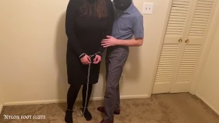 Sexy Foot Fetish Girl Arrested, Shackled, and Strip Searched in her Pantyhose