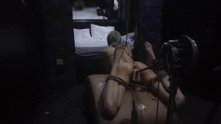 Fuck Machine and Anal Hook in Tight Holes of a Bound Teen