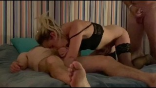 Amateur threesome, she really loves to have teo cocks near her face and pussy hot blowjob and fuckin