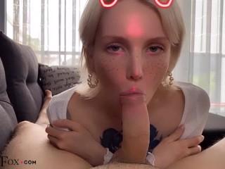 Hot Girl Deepthroat and Jerk Off Dick Boyfriend - Cumshot