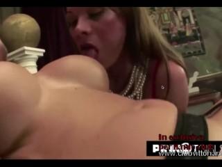 Vittoria Risi pornstar with big tits fucks two big black trans cocks and sucks a white passive cocks