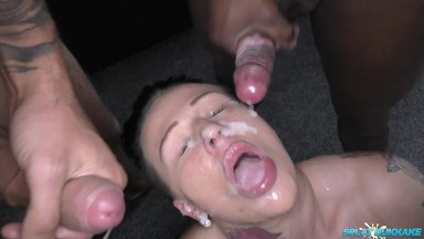Big titted MILF Tory Jackson sucks cock and takes facials in her debut bukkake party session