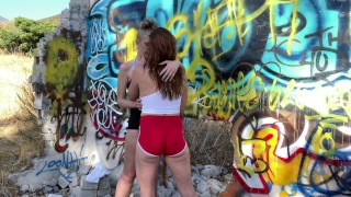 Blonde PAWG & Sexy Red Head MILF Stripping in Public