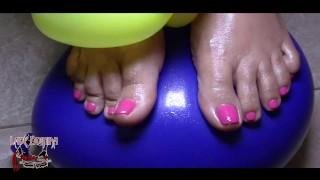 ebony feet foot play balloons