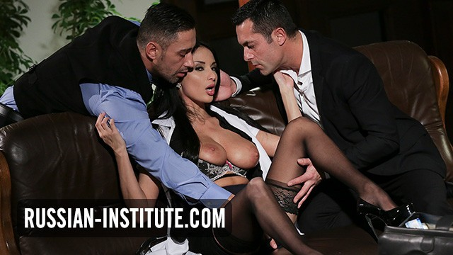 Big tits Anissa Kate enjoys the company of two men