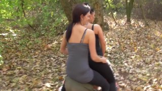 two cruel german doms riding old horse outdoor