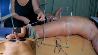 Amateur Femdom CFNM Handjob.When he Cums I Tickle his Feet.Double Ruined Orgasm+Post Orgasm Torture