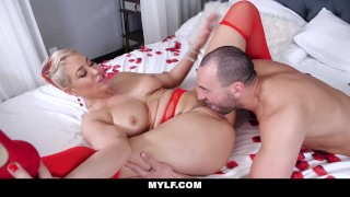 Gorgeous Milf Ryan Keely In Red Lingerie Rides Valentine's Day Stud