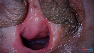 Cum dripping out of my pussy very close up!
