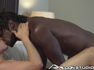 FalconStudios – Ebony Daddy Finds BF Naked In The Bed