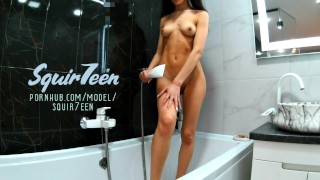 horny bitch masturbates in the shower and plays with her favorite toy – squir7een – teen porn