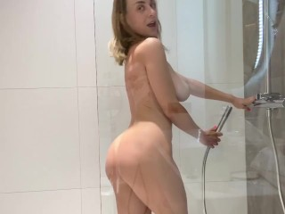 Playing with pussy in the shower