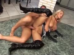 Fetish blondie get fucked in kitchen.