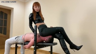Hot Princess Kira In Leather High Heels - FullWeight Jeanssitting and Ass Worship Femdom [PREVIEW]