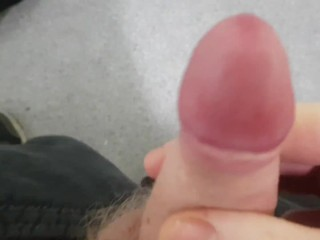 Wanking and pissing out of my hot, hard boner! | UK PUBLIC RESTROOM | playing with cum too!