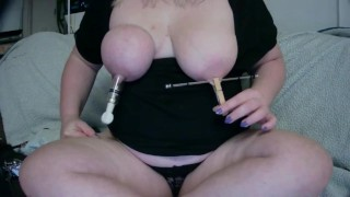 Fat saggy tits nipple tortured - clamped, sucked, spanked
