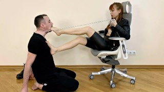Badass Cruel Girl - Foot Gagging Roughly Dominates a Chained Slave [PREVIEW]