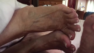 Mature stepaunt Ann Footjob With French Pedicure