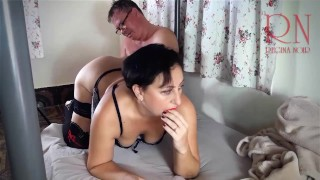 The guy touches the maid's pussy, takes off her panties and fucks her in the pussy!
