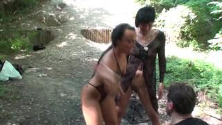 hanna + jacky slapping outdoor slave joschi