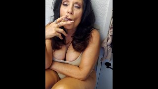 Mature Mom talks about how lame your girlfriend is in bed w/ smoking & footplay in slippers