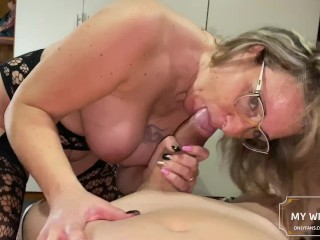 I fuck my stepaunt's big ass while she tells me she is my bitch finally I fill his glasses with cum