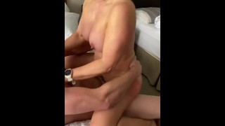 Busty wife fingered on a gondola then fucked hard by hubby and bull in a hotel!