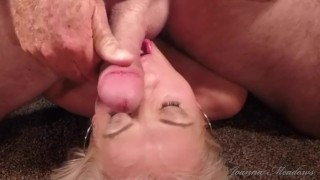 Cum slut uses fuck machine and vibraotr while she sucks balls and moans for a hot load on her face