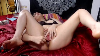 Screen Capture of Video Titled: Closeup of big pussy lips Milf fucking herself