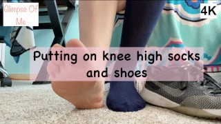 bare foot, putting on knee high socks, and nike shoes - glimpseofme
