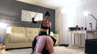 Trucici aka The Flossinatrix spanks her pink skirted sissy slave and fucks his ass with a cock
