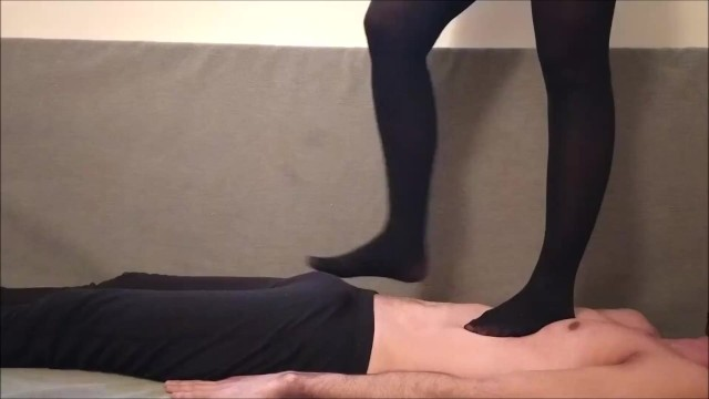 Trampling with stockings - I love to feel his body under my feet