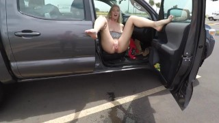 Hot blonde MILF spreads her legs and shows  her swollen pussy as she publicly pisses at Maui airport