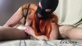 Red-haired slut loves to be in a cowgirl pose