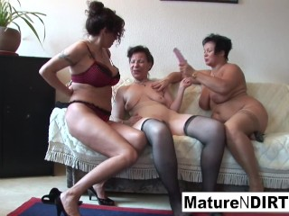 Sexy lesbian threesome action with some hot grannies!