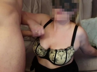 Hot sex doggy style, pussy licking orgasm and cum on bra