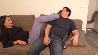 strict japanese mistress train her home slave with foot domination