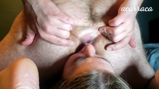 Gorgeous sub girl eats ass and has her face farted on.