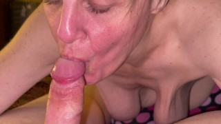 Friends older mom with saggy mature titts sucking my cock dry and showing cum mouth