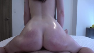 A very beautiful girl with gorgeous legs makes a footjob and fucks insatiably with cum 4K 60FPS