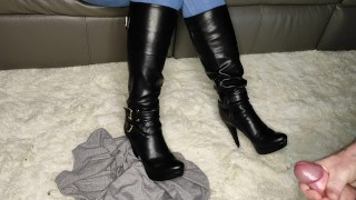 Allowing him to cum on my boots CFnm