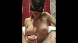 Masked Brunette Gags On Cock In The Bathroom, Doggystyle And Cumshot