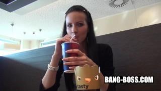 Skinny Model Bitch sucks cock and fucks at KFC - That stupid Slut dislikes Cum in Mouth - BANG BOSS