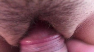 Penis rubs clit and cums on pussy hair