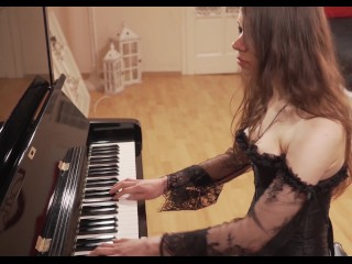 He seduces his gorgeous stepsister as she plays the piano for an incredible 3some fuck with his gf